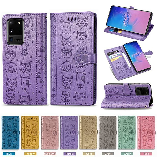 Case For Samsung Galaxy S9 / S9 Plus / S8 Plus Wallet / Card Holder / with Stand Full Body Cases Solid Colored / Animal PU Leather For Galaxy S20/S20 Plus/S20 Ultra/S10/S10E/S10 Plus/S8