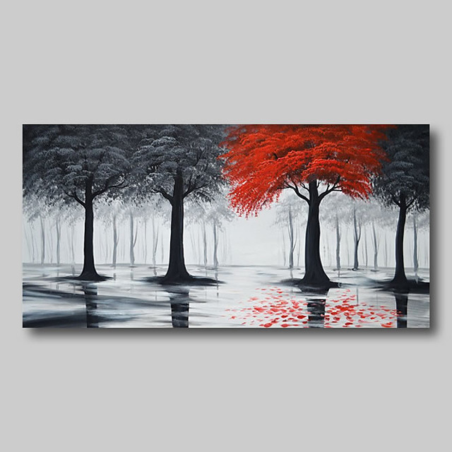 Oil Painting Hand Painted - Abstract Comtemporary Modern Stretched Canvas Trees Black Red