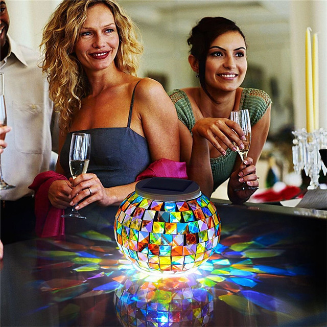 Color Changing Solar Powered Table Lights Mosaic Glass Ball Led Night Light for Patio Garden Table lamps for Decorations