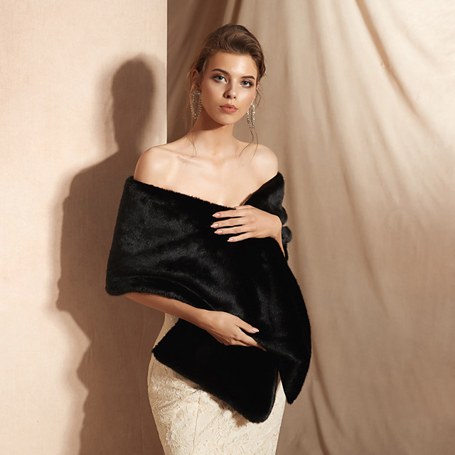 Sleeveless Capes Faux Fur Party / Evening Shawl & Wrap / Women's Wrap With Button