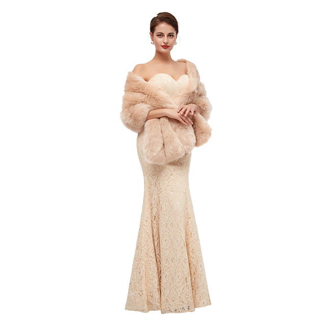 Sleeveless Shawls Faux Fur Party / Evening Shawl & Wrap / Women's Wrap With Button