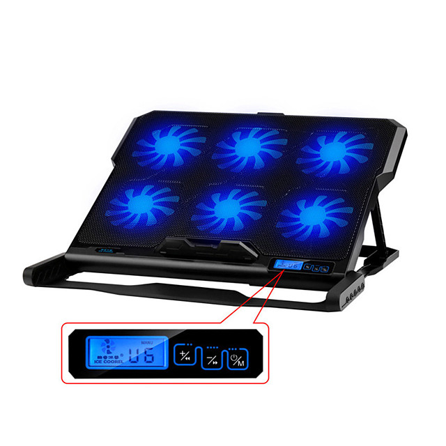 Laptop Cooler Adjustable Speed Two USB Ports Six Cooling Fan Laptop High Speed Quiet pad Notebook Stand for 12-15.6 inch Adjustable Height for Laptop