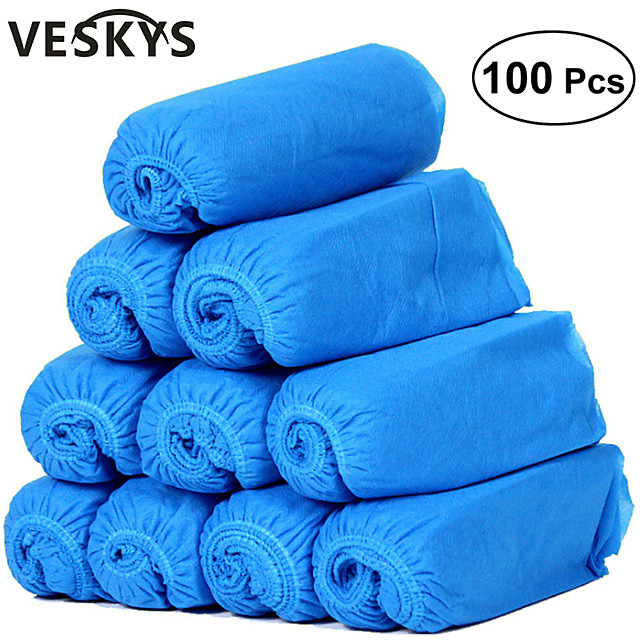 VESKYS 100pcs Thickened Disposable Non-woven Fabric Shoes Covers Elastic Band Breathable Dustproof  Anti-slip Shoe Covers