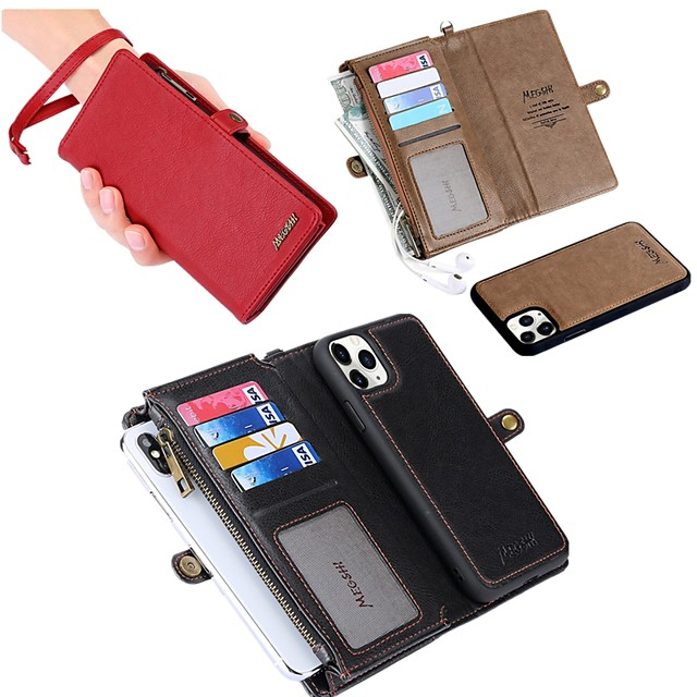 Case For Apple iPhone 11 / 11 Pro / 11 Pro Max / 8 / 8Plus / X / XS / XR / XS max/ 7/ 7plus / 6 /6S Wallet Card Holder Shockproof Magnetic Full Body Leather Cases Genuine Leather Phone Case
