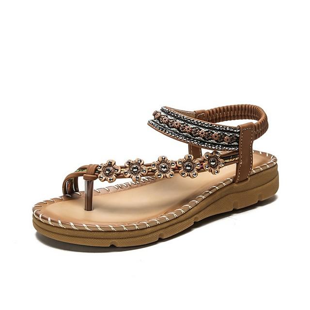 Women's Sandals Flat Sandal Summer Flat Heel Open Toe Daily PU Black / Brown / Beige