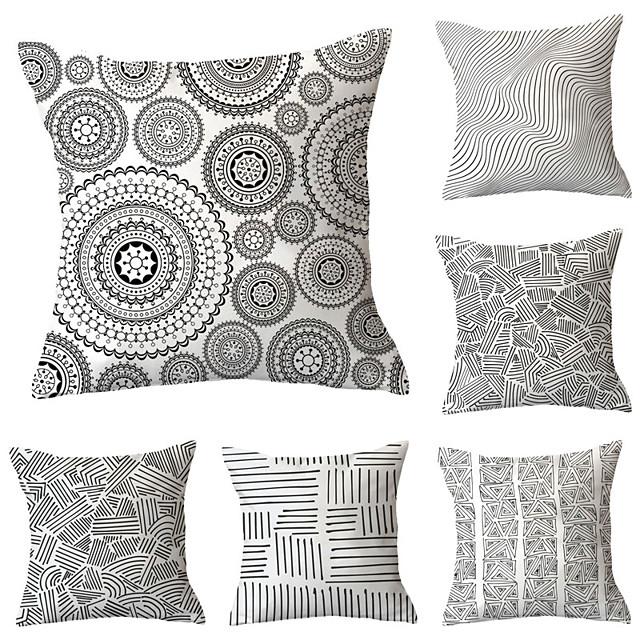 6 pcs Throw Pillow Simple Classic 45*45 cm Cushion Vintage Circle Cover Sofa Home Decor Throw Pillow Case