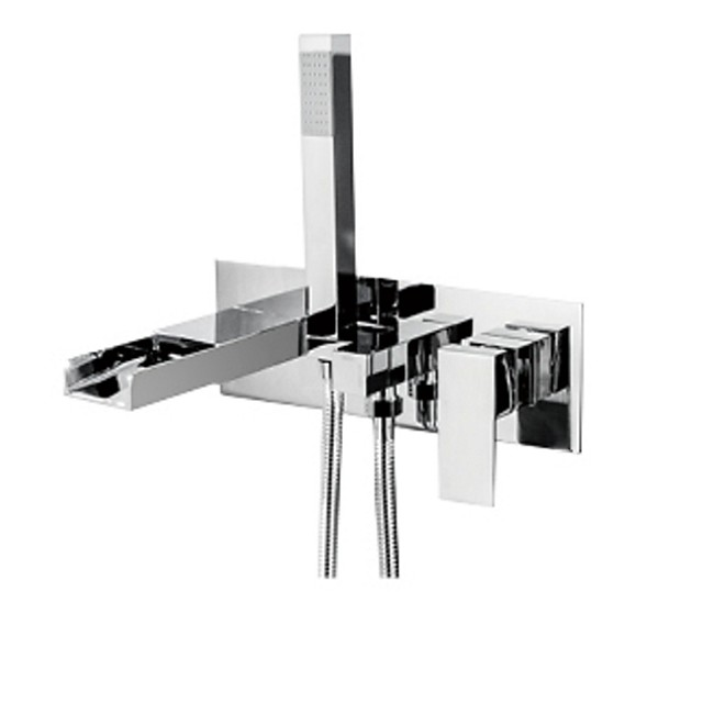 Bathtub Faucet - Contemporary Chrome Wall Mounted Bathtub Mixer Tap Waterfall Bath Shower Faucet
