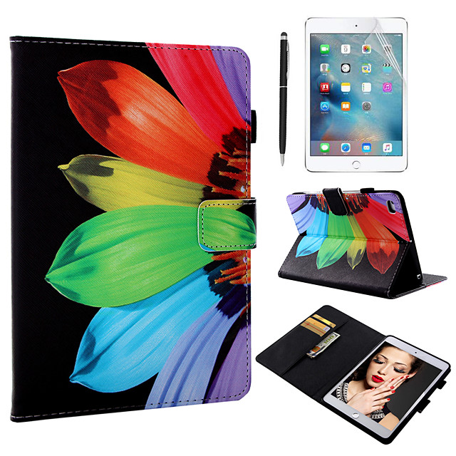 Case & 1pcs Stylus pen & 1pcs Screen Protect For Apple iPad Mini 12345 with Stand / Flip / Ultra-thin Back Cover Flower PU Leather