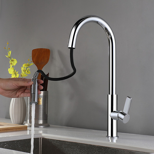 Kitchen faucet - Single Handle One Hole Chrome Pull-out / Pull-down Centerset Contemporary Kitchen Taps
