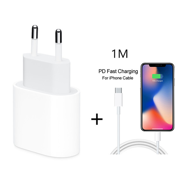 18W USB Type C Quick Charger Adapter For iPhone 11 pro Xs Max X Xr 8 Plus 8 7 6 5 PD Fast Charging Power Type-C EU Plug for Apple Cable