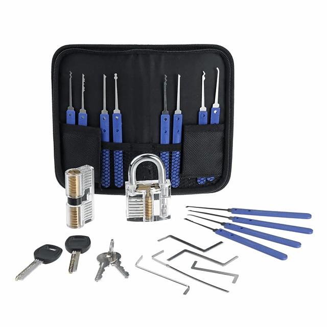Stainless Steel Multitool Lock Set Unlocking Locksmith Practice Tool Set Key Extractor 20pcs