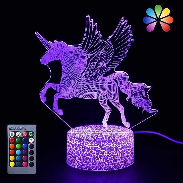 Unicorn 3D Nightlight LED Night Light Color-Changing / Adorable / Decoration Remote Control / Touch Dimmer / Gradient Mode Valentine's Day / Christmas AA Batteries Powered / USB 1pc