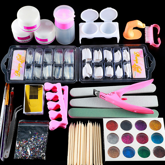 Nail Designs 2020 Acrylic Nail Art Kit Manicure Set 12 Colors Nail Glitter Powder Decoration Acrylic Pen Brush Nail Art Tool Kit For Beginners Arylic Liquid Nail Kit