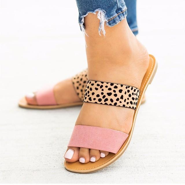 Women's Sandals Flat Sandals Summer Flat Heel Open Toe Daily PU Black / Yellow / Pink / Animal Print
