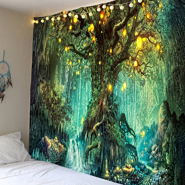 Wall Tapestry Art Decor Blanket Curtain Picnic Tablecloth Hanging Home Bedroom Living Room Dorm Decoration Fantasy Tree Forest Landscape