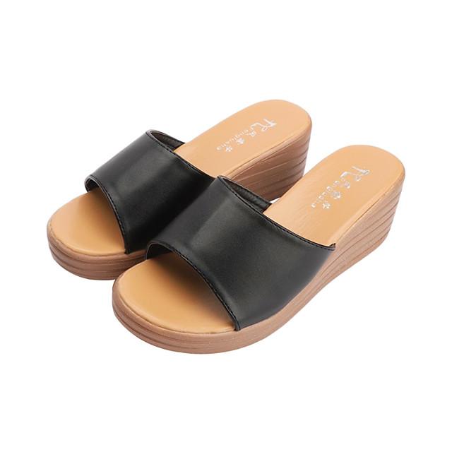 Women's Slippers & Flip-Flops Wedge Sandals Summer Wedge Heel Open Toe Casual Daily PU White / Black