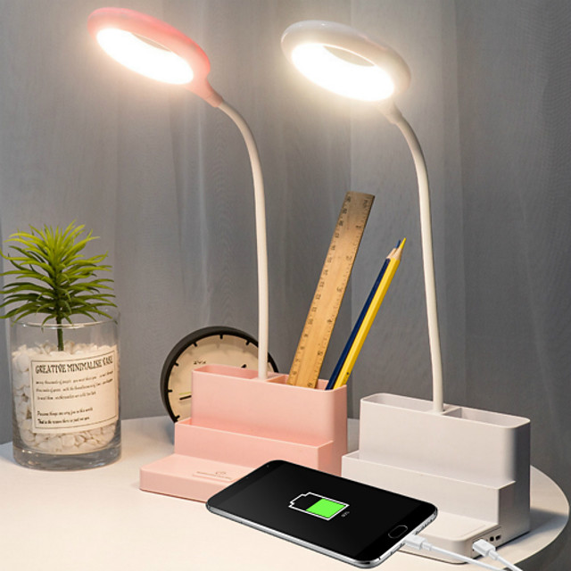 Multifunctional LED Desk Lamp with USB Port Pen Container Mini Fan Power Bank Eye Protection USB Charging Home Office Creative Gift