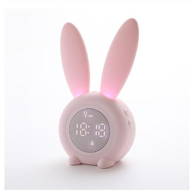 Bunny Ear LED Digital Alarm Clock Electronic LED Display Sound Control Cute Rabbit Night Lamp Desk Clock For Home Decoration