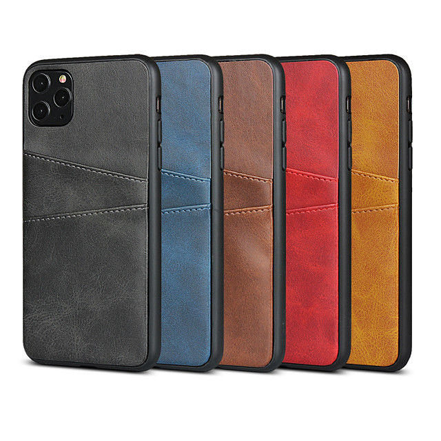 Case For Apple iPhone  7/8/7P/8P/X/XS/XR/XS Max/11/11 Pro/11 Pro Max/SE 2020 Card Holder / Shockproof Back Cover Solid Colored PU Leather