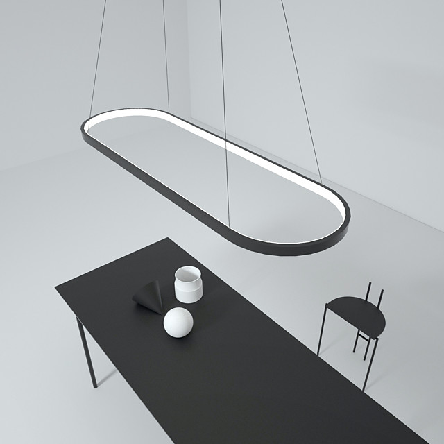 LED Pendant Light 40W Rectangle Aluminum Black Painted Finishes Modern Lamp for Dinning Room Resturant Coffee Bar