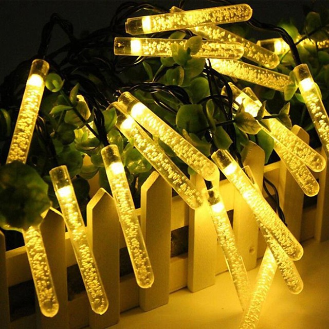 5m String Lights Solar 20LED Light String Icicle Light String Outdoor Waterproof Christmas Holiday Bar Party Decoration String Light