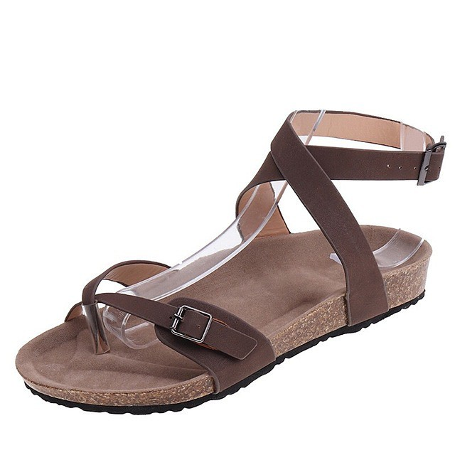 Women's Sandals Flat Sandal 2020 Spring &  Fall / Spring & Summer Flat Heel Open Toe Casual Basic Daily Outdoor PU Almond / Black / Coffee