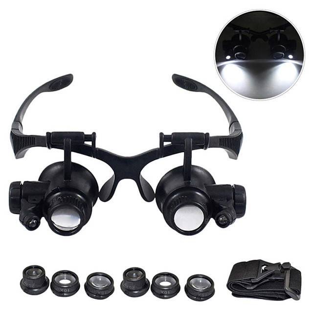Magnifying Glasses 10X 15X 20X 25X Eye Jewelry Watch Repair Magnifier Glasses With 2 LED Lights Microscope