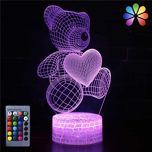 3D Night Light for Kids Touch Table Desk Lamps Changing Boys Girls Bedroom Birthday Gifts Lights Fancy Ideas Lights Small Gift (Caring Bear)