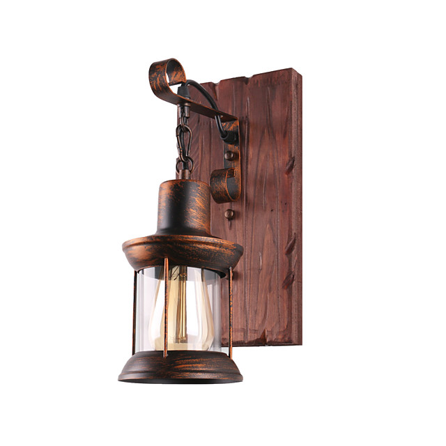 Wall Lamp Single Head Industrial Rustic Vintage Retro Wooden Wall Scone Metal Painting Color for The Home Hotel Corridor Decorate Wall Light