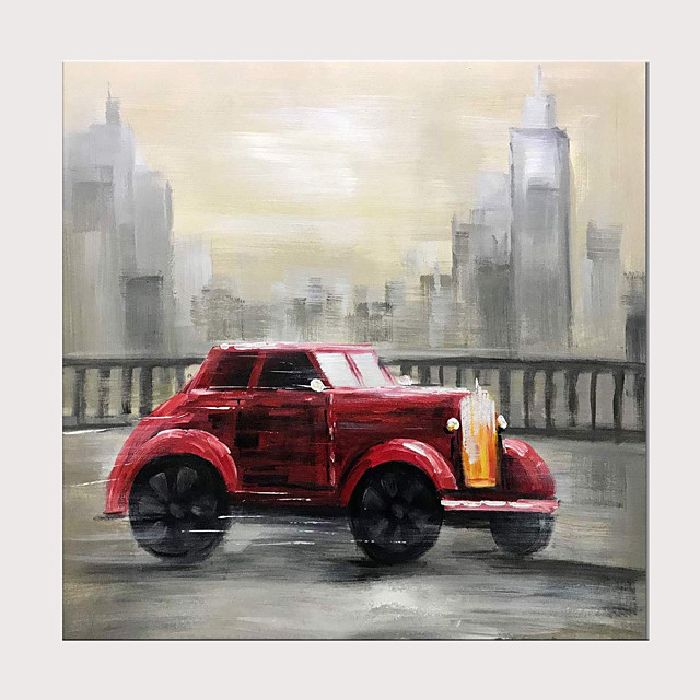 Hand-Painted Classic Red Vintage Car Oil Paintings Buildings Cityscape Wall Art on Canvas Modern Artwork with Inside Framed Ready to Hang