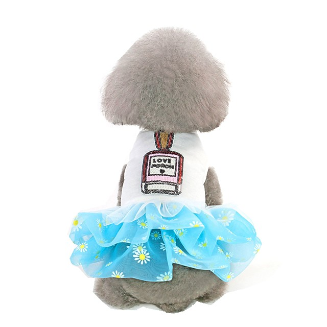 Dog Dress Voiles & Sheers Flower Stylish Sweet Style Dog Clothes Blue Pink Costume Cotton XS S M L XL