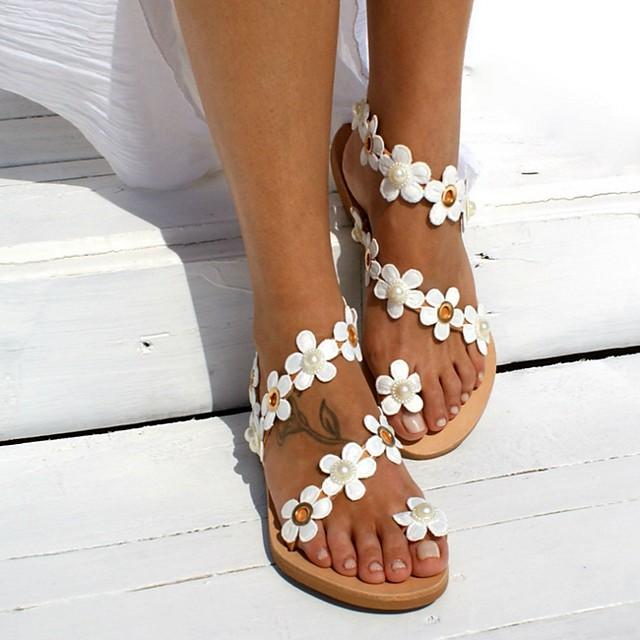 Women's Sandals Boho / Beach Flat Sandals Summer Flat Heel Open Toe Daily PU Brown