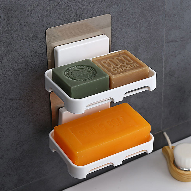 2PC Bathroom Shower Soap Box Dish Storage Plate Tray Holder Case Soap Holder Housekeeping Container Organizers