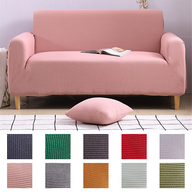 Sofa Cover Couch Cover Furniture Protector Solid Color Soft Stretch Sofa Slipcover Super Strechable Cover Fit for Armchair/ Loveseat/ Three Seater/ Four Seater/ L Shape Sofa Easy to Install & Care  (F
