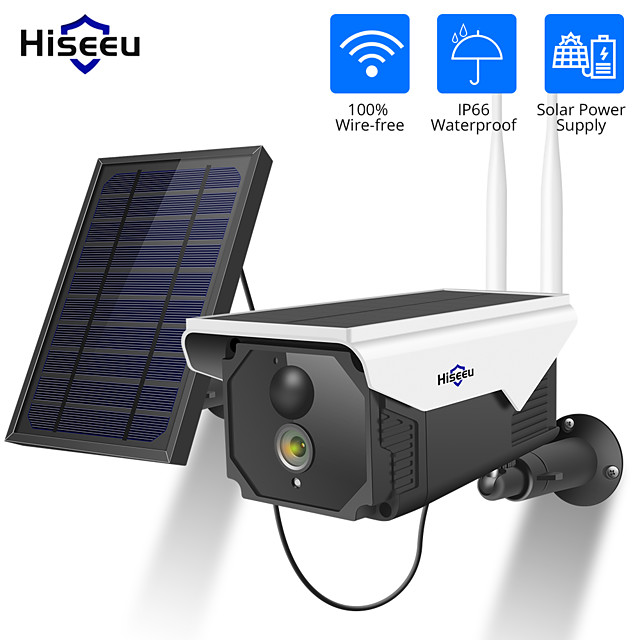 Hiseeu FT5C-TZ 1080P 2 mp Solar Camera Wireless Battery Night Vision IP Camera WIFI 2MP Waterproof Outdoor Rechargeable Security Camera with Solar Panel PIR Detect