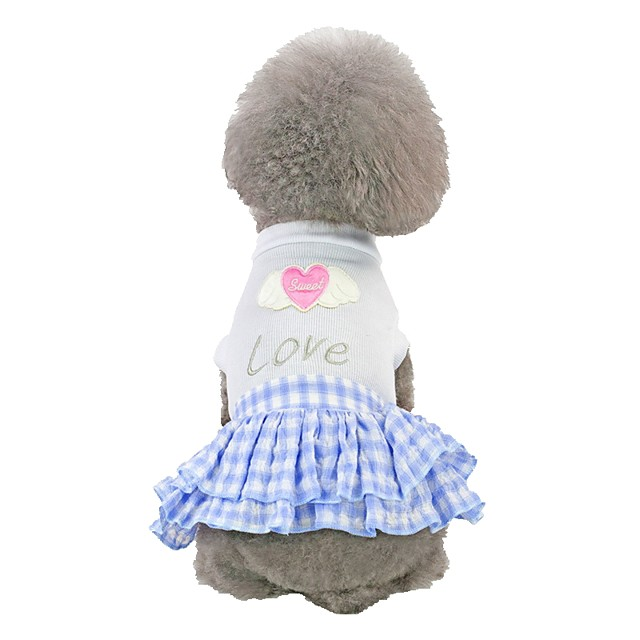Dog Dress Heart Quotes & Sayings Love Romantic Sweet Dog Clothes Blue Pink Costume Cotton XS S M L XL