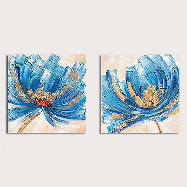 Hand Painted Canvas Oilpainting Abstract Flowers Set of 2 Home Decoration with Frame Painting Ready to Hang