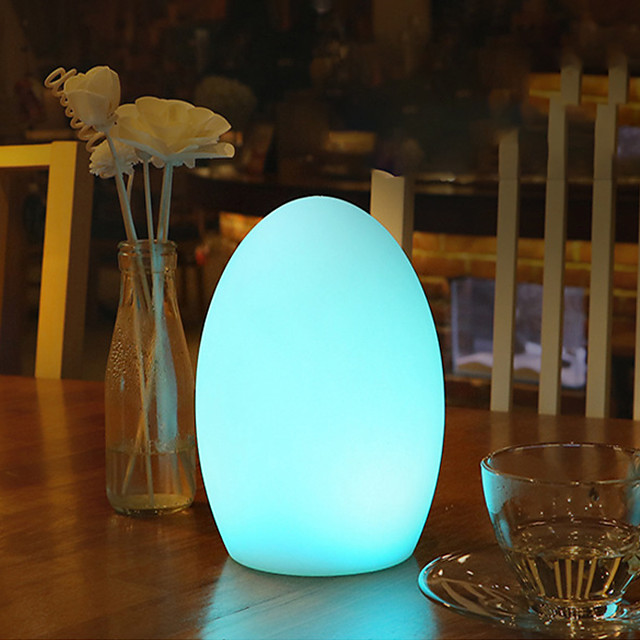 Oval Shape LED Outdoor Table Lamp Waterproof Gargen Decoration Bar Table Party Atmosphere Light RGB Color Changing Rechargeable USB Bedside Night Light