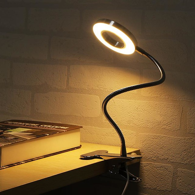 Table Lamp Desk Lamp Reading Light Dimmable Clip Adjustable USB Powered For Bedroom Office Black