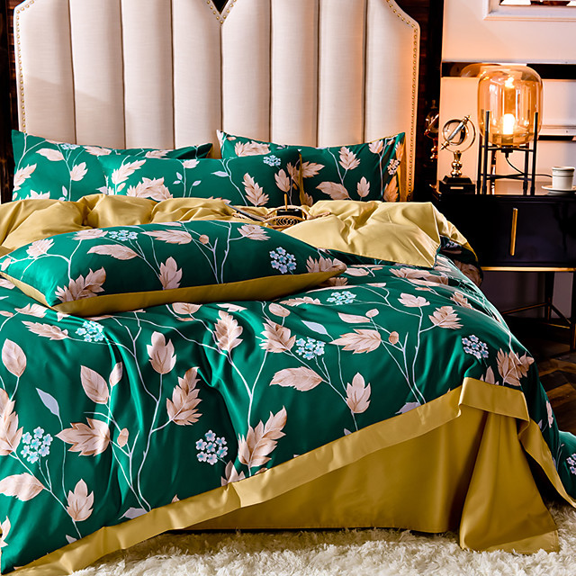 Duvet Covers 4 Piece Queen Size/King Size Floral Pattern Spring Summer Bed Skirt Bedding Set