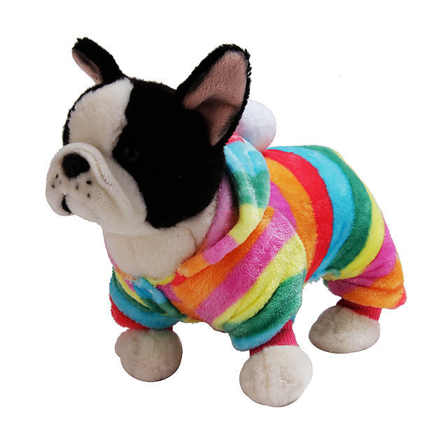 Dog Rabbits Cat Hoodie Jumpsuit Winter Dog Clothes Costume Flannel Fabric Stripes Casual / Daily Cute XS S M L XL XXL