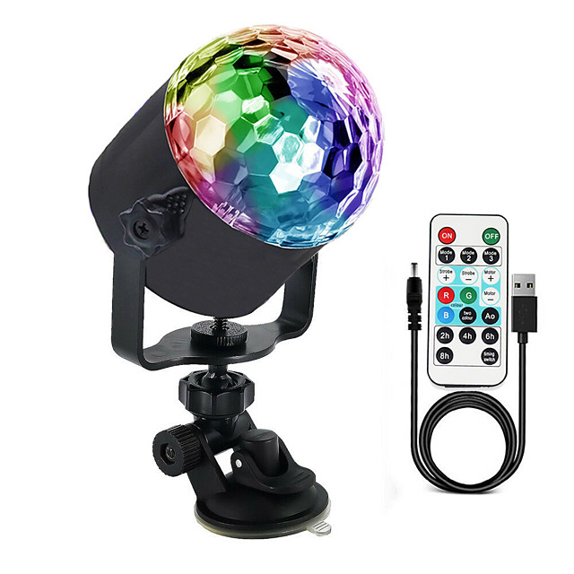 Disco Lights OMERIL Sound Activated Disco Ball Lights with 4M/13ft USB Power Cable 3W RGB Party Lights with Remote Control for Kids Birthday Christmas Party Home-USB Powered Energy Class A 1pc