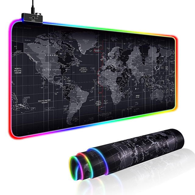 300*800mm LED Roll Up Large Size Gaming Mouse Pad XXL Stitched Edges Keyboard Cover Desk-mat Colorful Luminous for PC Computer Desktop 7 Colors LED Light Desk Mat Gaming Keyboard Pad
