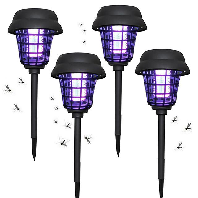 ZDM 4PCS Light control Solar Bug Zappers Light Outdoor Walkway Garden Lawn Gardens Pathway Waterproof Mosquito Repeller Pest Repeller Light Insect Repeller Lamp Insect Catcher