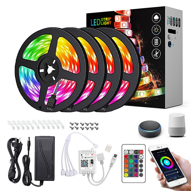 20M(4x5M) LED Light Strips RGB Tiktok Lights Intelligent Dimming App Control Waterproof Flexible 5050 SMD 600 LEDs IR 24 Key Controller with Installation Package 12V 8A Adapter Kit