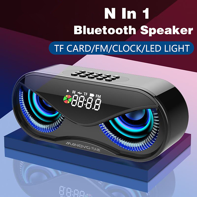 M6 Bluetooth Speaker Cool Owl Design Bluetooth Speaker LED Flash Wireless Loudspeaker FM Radio Alarm Clock TF Card Support Select Songs By Number
