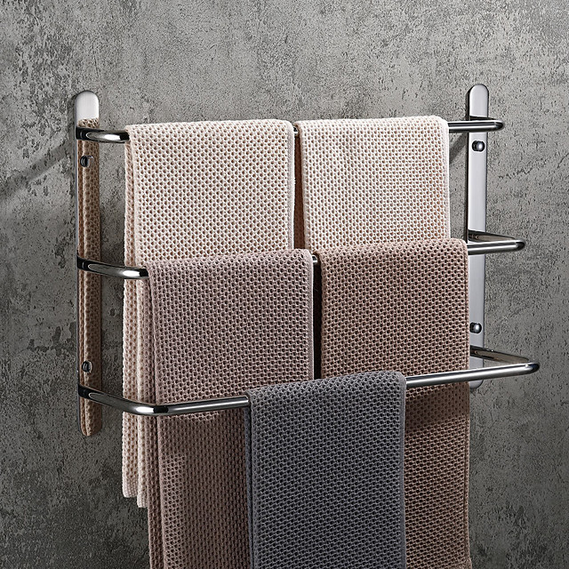 Bathroom Towel Bar Multilayer Stainless Steel Multifunction 3-layer Towel Rack Wall Mounted Polished Sivery and Matte Black 1pc