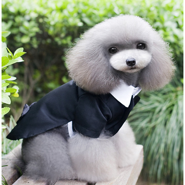 Dog Dress Tuxedo Suit Solid Colored Party / Evening Classic Dog Clothes Black Costume Polyester XS S M L XL