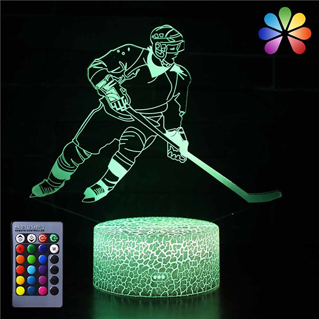 3D Ice Hockey Player Night Light USB Touch Switch Decor Table Desk Optical Illusion Lamps16 Color Changing Lights LED Table Lamp Xmas Home Love Brithday Children Kids Decor Toy Gift