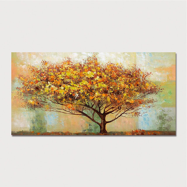 Hand Painted Canvas Oilpainting Abstract Landscape Tree Home Decoration with Frame Painting Ready to Hang